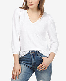 Lucky Brand Cotton Embroidered V-Neck Top