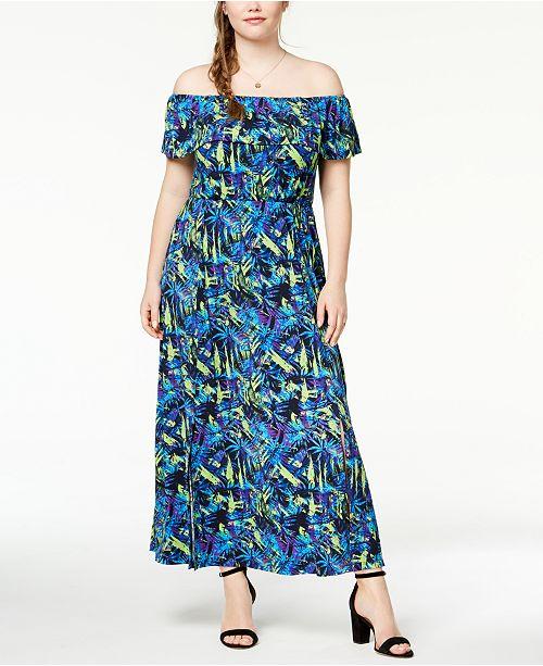 Fox Royal Trendy Plus Size Off The Shoulder Maxi Dress Dresses