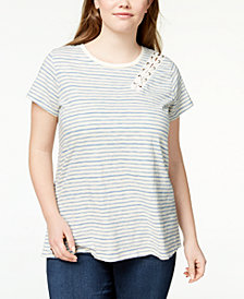 Lucky Brand Trendy Plus Size Cotton Lace-Up T-Shirt
