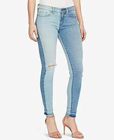 WILLIAM RAST Mid Rise Colorblocked Embroidered Skinny Jeans
