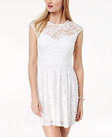 B Darlin Juniors' Lace Button-Back Fit & Flare Dress
