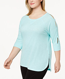 Calvin Klein Performance Plus Size Keyhole-Sleeve Split-Hem Top