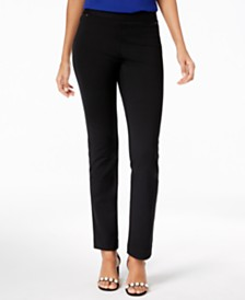 I.N.C. Petite Pull-On Straight-Leg Pants, Created for Macy's