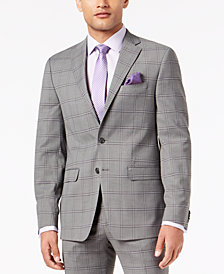 Sean John Men's Slim-Fit Stretch Black/White Windowpane Suit Jacket