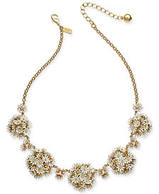 "kate spade new york Gold-Tone Crystal & Stone Flower 18"" Statement Necklace"