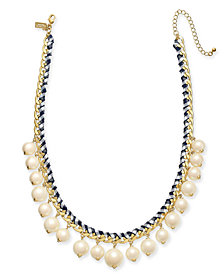 "kate spade new york Gold-Tone Cubic Zirconia & Imitation Pearl Woven Ribbon Collar Necklace, 18"" + 3"" extender"