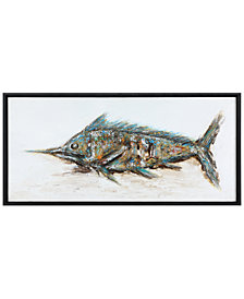 Uttermost Blue Marlin Hand-Painted Wall Art