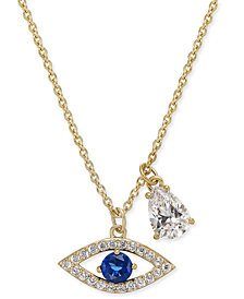 "Danori 18k Gold-Plated Pavé Evil-Eye and Crystal Teardrop Pendant Necklace, 16"" + 2"" extender, Created for Macy's"