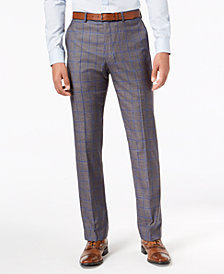 Sean John Men's Slim-Fit Stretch Gray/Blue Windowpane Suit Pants