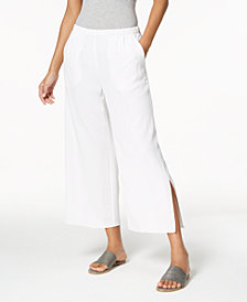 Eileen Fisher Tencel® Crepe Pull-On Cropped Side-Slit Pants, Regular & Petite