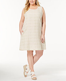 Eileen Fisher Plus Size Organic Cotton-Linen Shift Dress
