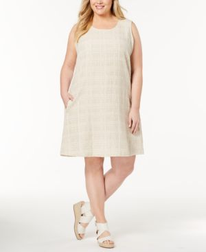 Eileen Fisher Plus Size Organic Cotton-Linen Shift Dress 6120648