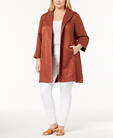 Eileen Fisher Plus Size Silk-Linen Open-Front Coat