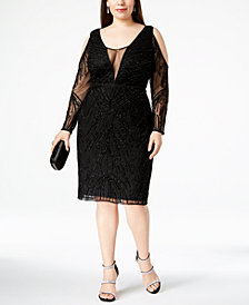 Adrianna Papell Plus Size Beaded Cold-Shoulder Dress