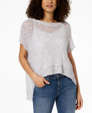 ORGANIC COTTON OPEN-KNIT HIGH-LOW SWEATER
