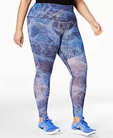 Nike Plus Size Power Printed Mesh High-Rise Compression Leggings