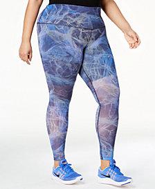 Nike Plus Size Power Printed Mesh High-Rise Compression Leggings