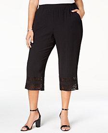 JM Collection Plus Size Crinkle Crochet-Cuff Capri Pants, Created for Macy's