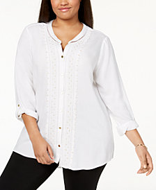 JM Collection Plus Size Tab-Sleeve Sequined Tunic, Created for Macy's