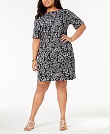 Karen Scott Plus Size Floral-Print Sheath Dress, Created for Macy's