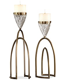 Carma 2-Pc. Bronze-Finish & Glass Candle Holder Set