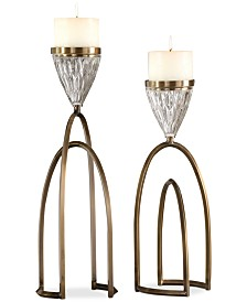 Uttermost Carma 2-Pc. Bronze-Finish & Glass Candle Holder Set