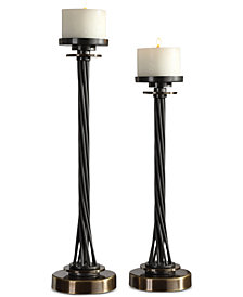 Uttermost Kendra 2-Pc. Twisted Black Candle Holder Set