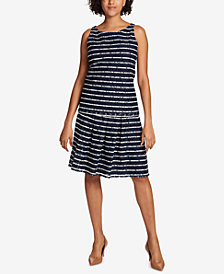 Tommy Hilfiger Striped Lace Tank Top	& Pleated Lace Skirt