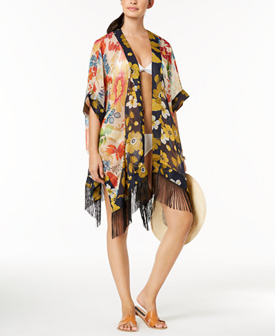 Steve Madden Mixed Floral Butterfly Fringe Cover-Up