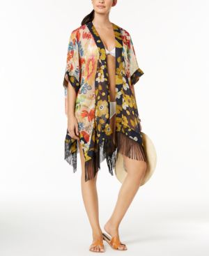 Steve Madden Mixed Floral Butterfly Fringe Cover-Up 5960226