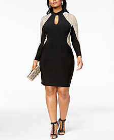 Xscape Plus Size Caviar-Beaded Illusion Dress