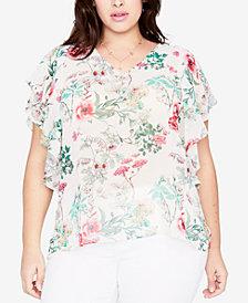 RACHEL Rachel Roy Trendy Plus Size Floral-Print Flutter Sleeve Top