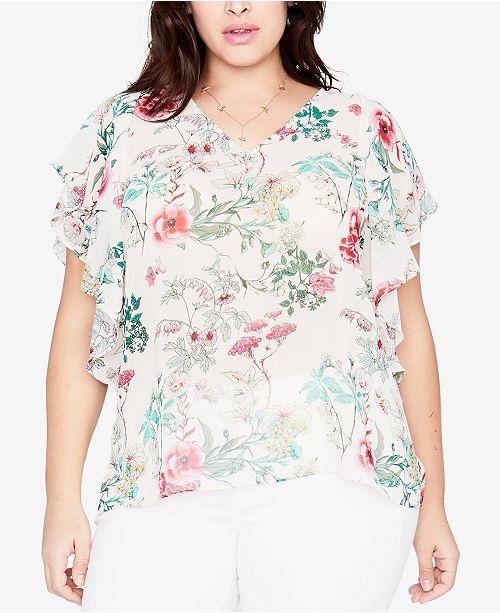 f2d56ccd04b6a ... RACHEL Rachel Roy Trendy Plus Size Floral-Print Flutter Sleeve Top ...