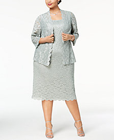 Alex Evenings Plus Size Lace Midi Dress & Jacket