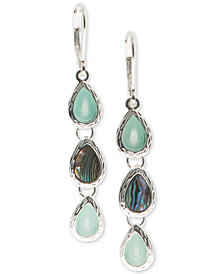 Nine West Silver-Tone Multi-Stone Triple Drop Earrings