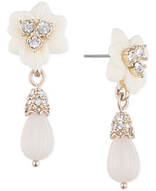 Marchesa Gold-Tone Imitation Pearl & Crystal Flower Drop Earrings