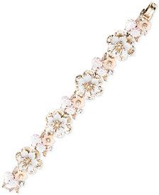 Marchesa Gold-Tone Crystal Flower Link Bracelet