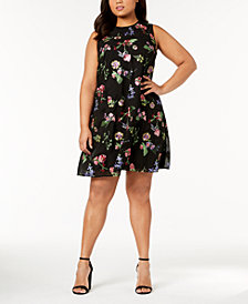 Calvin Klein Plus Size Embroidered Trapeze Dress