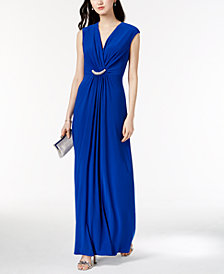 Jessica Howard Draped Rhinestone Surplice Gown