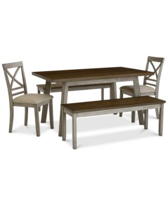 Fairhaven Dining Furniture, 5-Pc. Set (Table, 2 Upholstered Side Chairs & 2 Benches), Created for Macy's