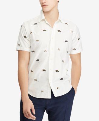 Ralph Lauren Denim and Supply Short Sleeve Mens Shirt Medium Beige Button Front