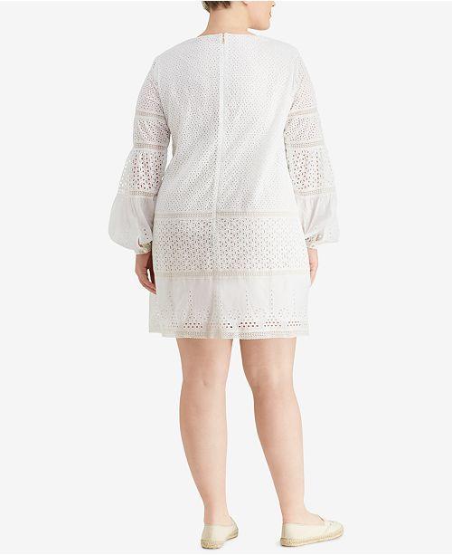 Lauren Ralph Lauren Plus Size Eyelet Lace Cotton Dress Dresses