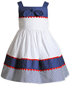 Sweet Heart Rose Printed Seersucker Sun Dress, Little Girls