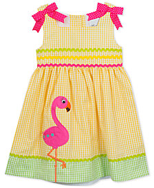 Rare Editions Flamingo Gingham Seersucker Dress, Little Girls