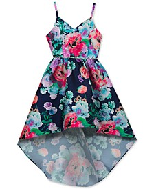 Embellished Floral-Print Dress, Big Girls