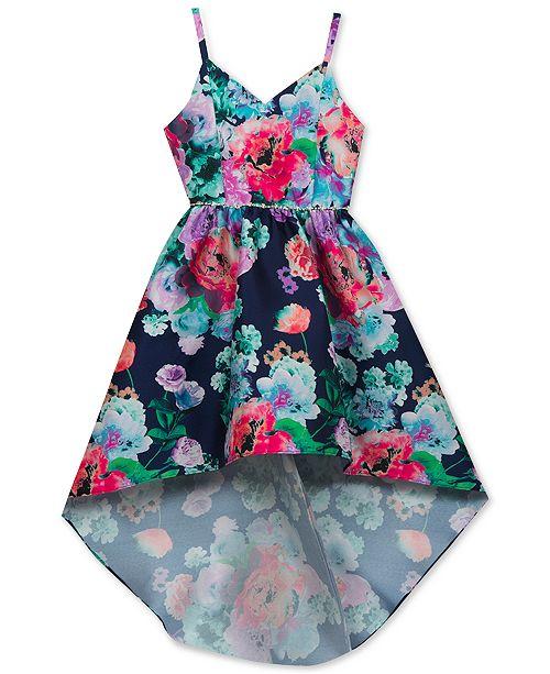 Rare Editions Embellished Floral-Print Dress, Big Girls