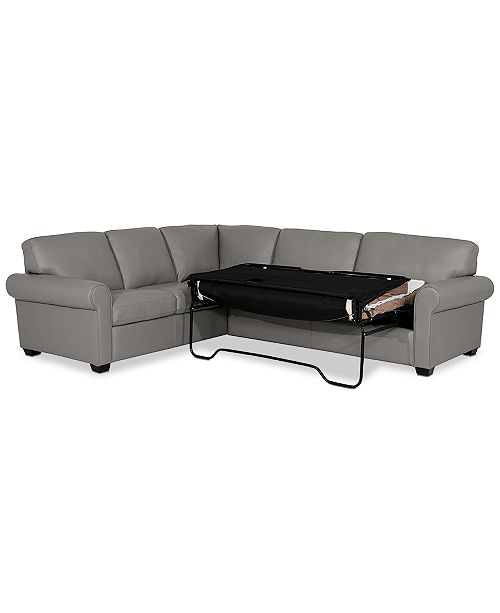 Orid 2-Pc. Leather L-Shaped Full Sleeper Sectional Sofa, Created for Macy\'s