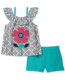 Kids Headquarters 2-Pc. Flower Top & Shorts Set, Toddler Girls