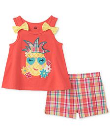Kids Headquarters 2-Pc. Pineapple Tank Top & Plaid Shorts Set, Little Girls