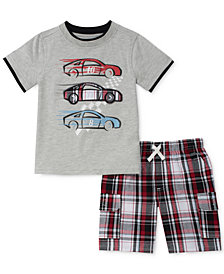 Kids Headquarters 2-Pc. Graphic-Print T-Shirt & Plaid Shorts Set, Little Boys